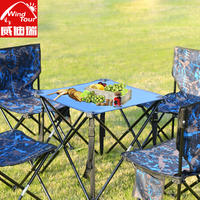 Outdoor folding table and chair set portable picnic barbecue table and chairs self-driving aluminum alloy camping stool table