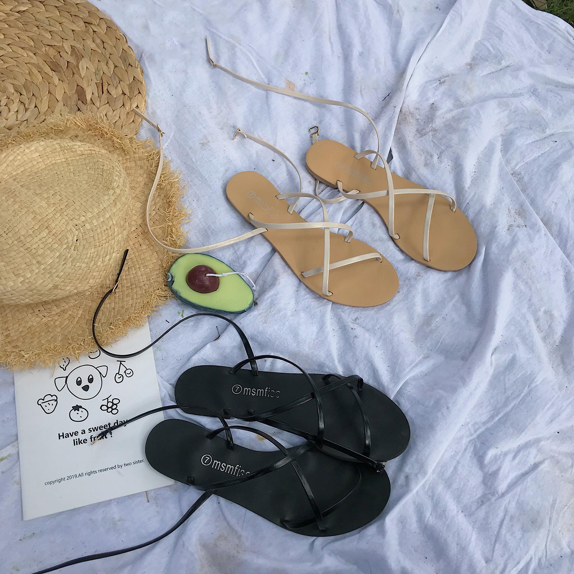 夏季韩版ulzzang网红软妹绑带凉鞋女学生百搭仙女风平底罗马鞋潮
