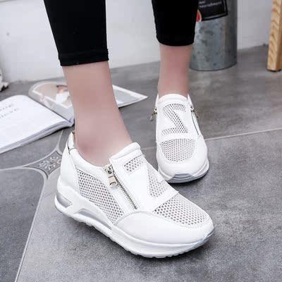 大东女鞋2018秋季新款单鞋女平底内增高小白鞋女学生鞋运动休闲鞋