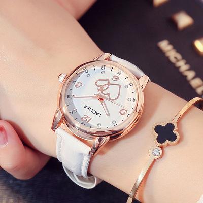 新款手链气质成熟手表女士创意心形镶钻石英女表时尚潮流女神腕表