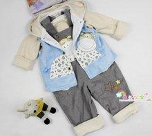 包邮 卡乐吉瑞比 2013新款春秋装 壮壮牛连帽夹衣婴儿童三件套装