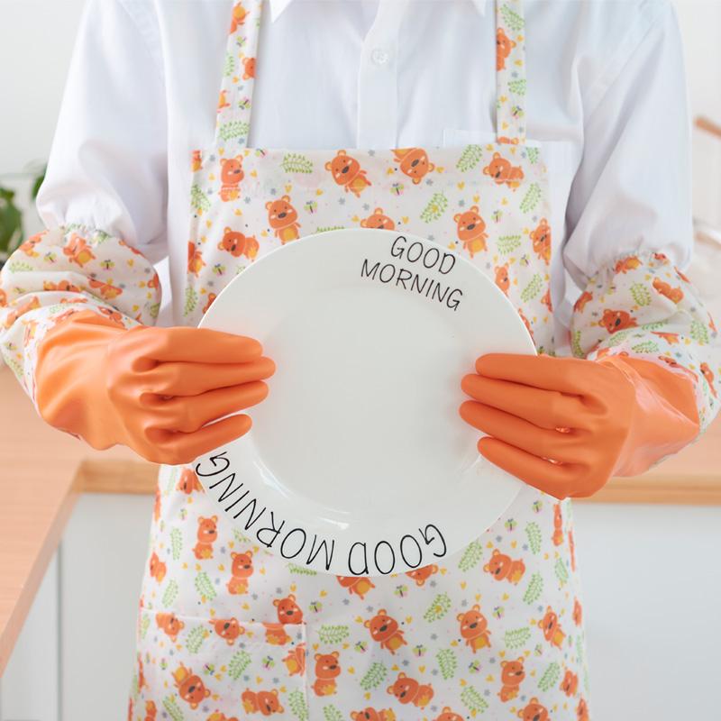 【买2送1】洗碗手套防水厨房耐用洗衣服胶皮塑胶清洁家务加绒加厚