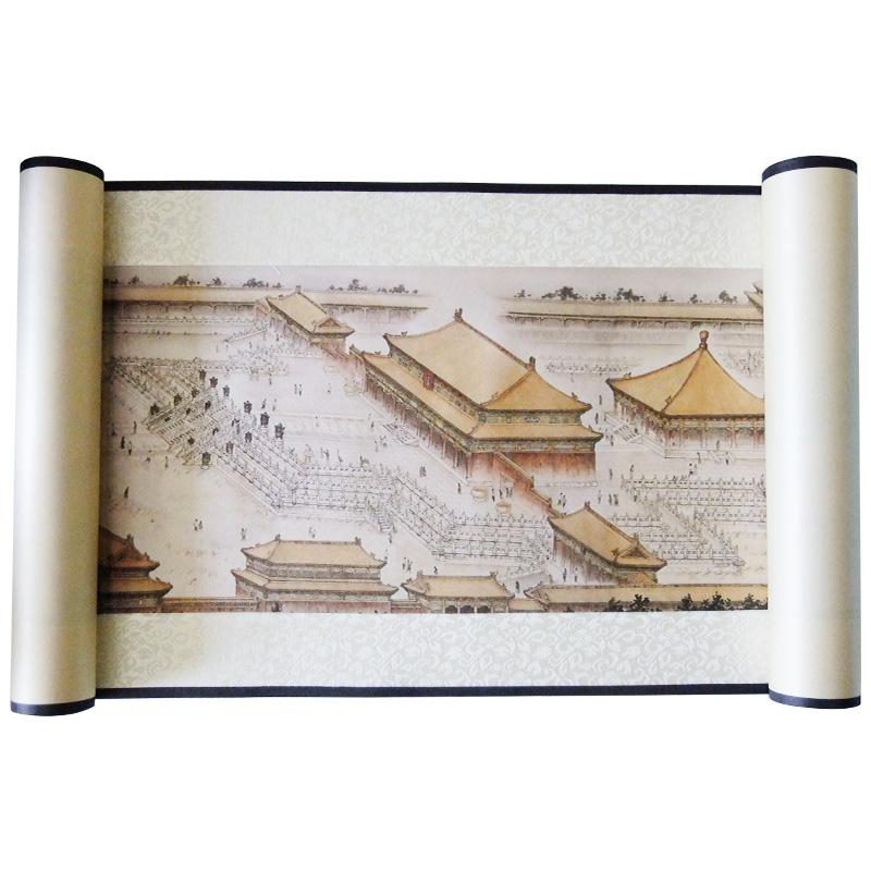故宫丝绸彩印卷轴挂画北京纪念品商务礼品送老外中国特色工艺品