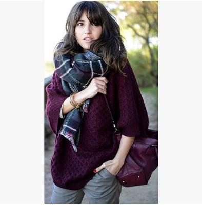 冬天双面双色格子格纹围巾 秋冬加厚仿羊绒超大披肩男女情侣款