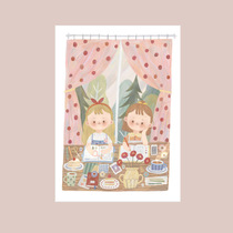 Best time original illustration cartoon cute girl hand account small fresh card sticker card Postcard