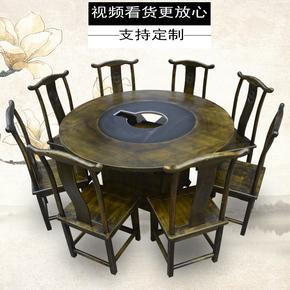 厂家直销串串小龙坎大理石火锅桌椅组合电磁炉一体柜式无烟火锅桌