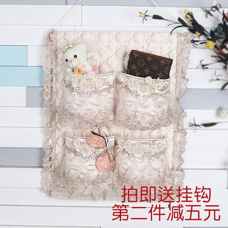 蕾丝挂袋收纳袋墙挂式门后衣橱挂袋三兜四兜布艺储物整理袋
