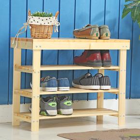 纯实木简易鞋架多层换鞋凳松木鞋柜现代简约原木鞋架多层穿鞋凳子