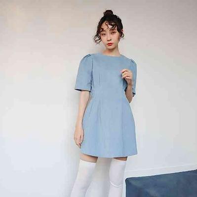 三0116官网代购rowky欧美时尚百搭纯色/连衣裙/RO22745