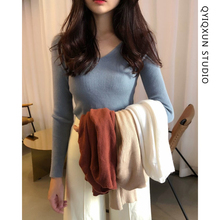 V-neck knitted sweater, women's self-improvement, short-style underwear and jacket, autumn new style, autumn and winter bottom long sleeve sweater, thin style