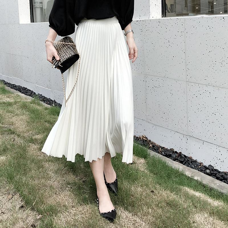 2018秋冬新款超仙高腰风琴百褶裙a字裙女中长款白色半身裙长裙子