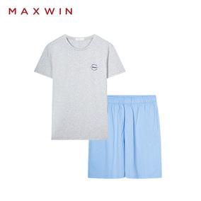 MAXWIN马威夏季男士纯棉休闲圆领短袖短裤可外穿睡衣家居套装
