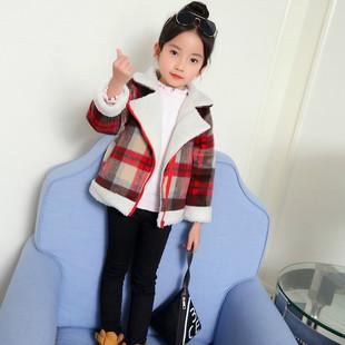 女童洋气外套秋冬2017新款韩版加绒短款冬装小学生公主毛呢大衣潮
