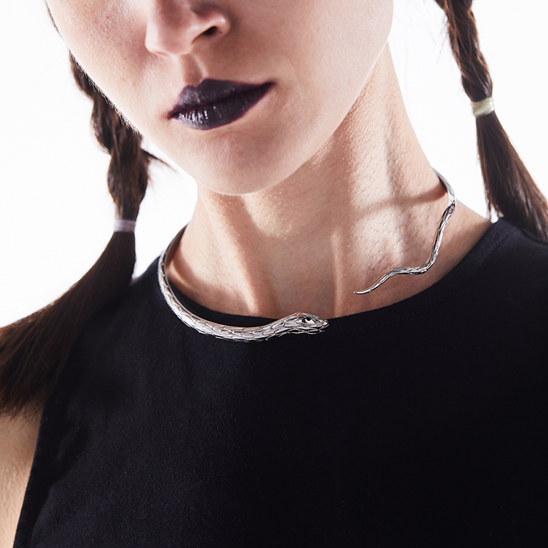 BLACK HEAD黑头/设计师潮牌 个性蛇形开合钛钢项圈颈环范丞丞同款