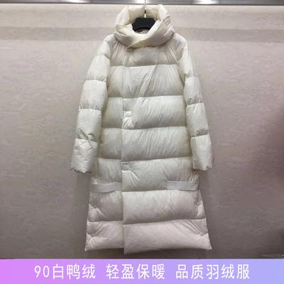商场同款2018冬新品拼接连帽羽绒服女中长款长过膝外套女5I870414