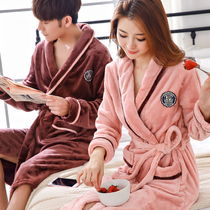 Nightgown pajamas winter thick flannel bathrobe spring and autumn large size long section men couple coral velvet bathrobe
