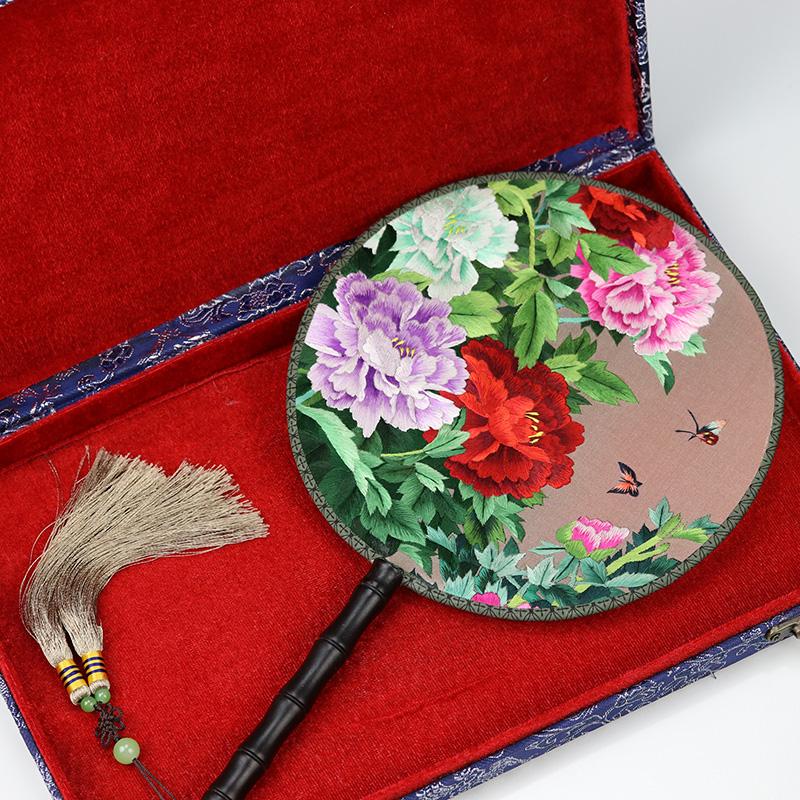 苏绣团扇双面刺绣扇子手工艺品中国风特色礼品送老外特产熊猫礼物