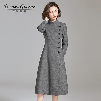 2018春装新款女装千鸟格毛呢外套中长款修身大码羊毛呢子大衣秋冬