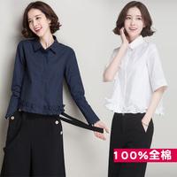ins超火的白衬衫女长袖全棉2018春装新款韩版宽松心机衬衣设计感