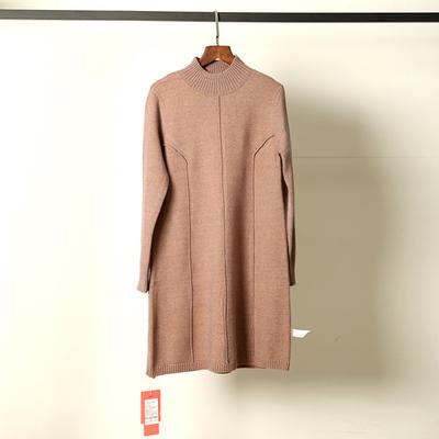 伊若拉 半高圆领羊毛裙女中长新款针织连衣裙秋冬韩版宽松打底衫