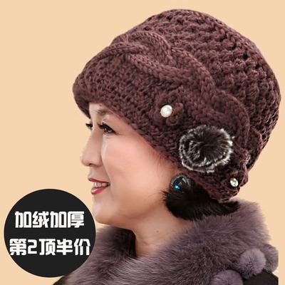 中老年帽子女冬天老人帽子女奶奶针织毛线帽妈妈加绒加厚老太太帽