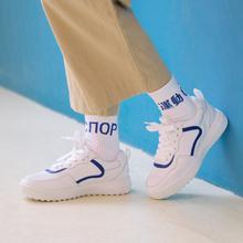 七九一鹿真皮小白鞋2019春季新款网面运动休闲鞋板鞋学生厚底单鞋