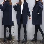 2018春装新款时尚韩版显瘦毛呢外套中长款藏青色毛呢子大衣外套女