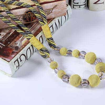 厂家直销高档人造丝水晶珠子绑带 包丝珠窗帘绑绳绑扣简约包邮