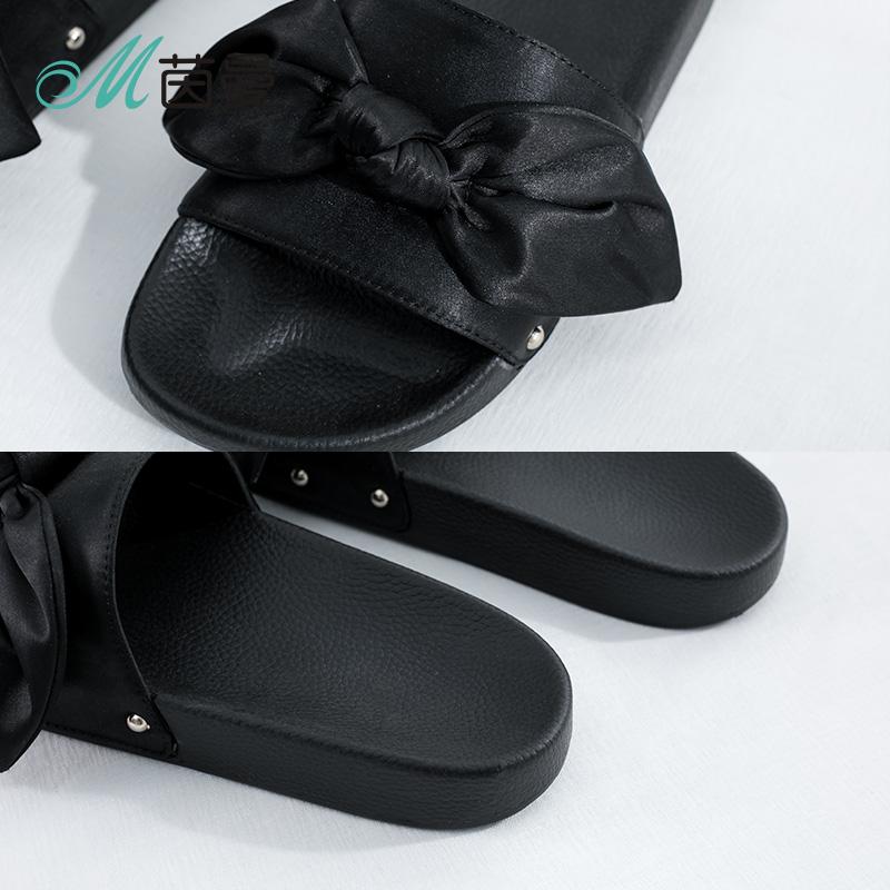 茵曼女鞋2018年夏季新品拖鞋平底蝴蝶结厚底百搭凉鞋女4882060166