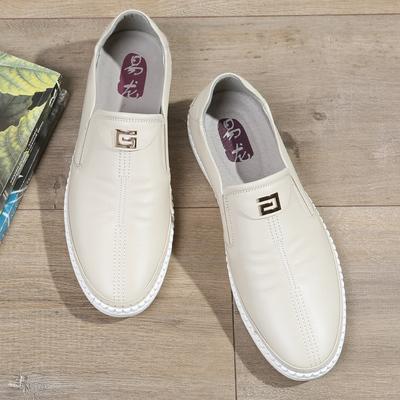 夏季透气一脚蹬懒人男士休闲鞋男式米白色皮鞋真皮软底软面皮百搭