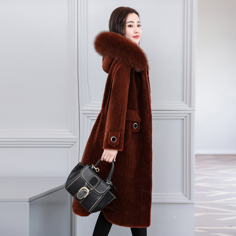 2018 summer new high imitation sheep shearing coat female long section slim slimming Fox