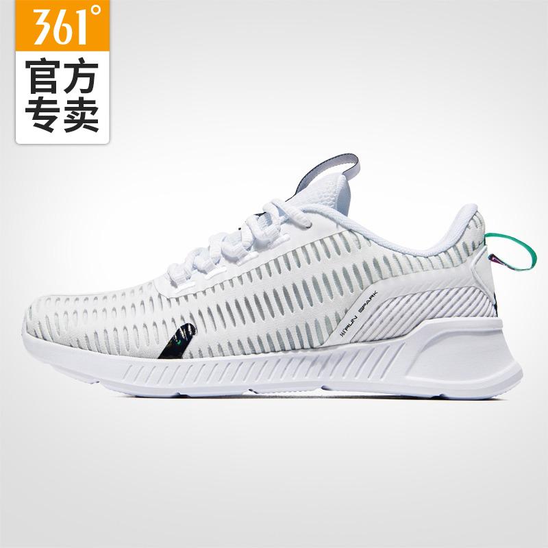361度女鞋2019夏季新款跑步鞋网面透气跑鞋361运动鞋女白色休闲鞋