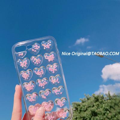 粉亮片爱心全包软壳苹果6手机壳iphoneX/8/7plus/6s创意硅胶女款5