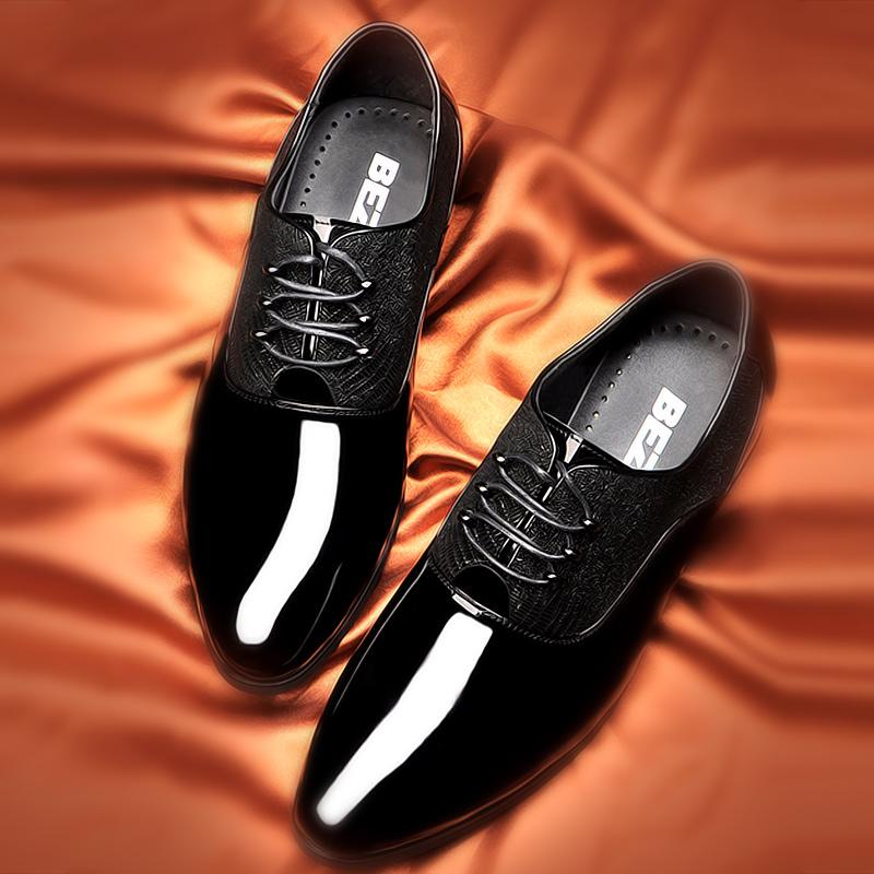 2018新款男士韩版皮鞋漆皮透气商务正装男鞋正品牌鞋结婚鞋尖头潮1元优惠券