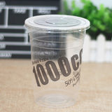 Disposable plastic milk tea cup 1000cc ml large cup cold drink cup couple cup milk tea cup 500 sets / piece cover