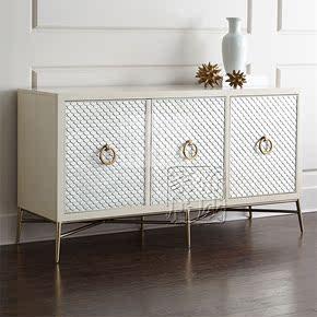 美式乡村不锈钢餐边柜欧式时尚简约白色边柜新古典金属实木门厅柜