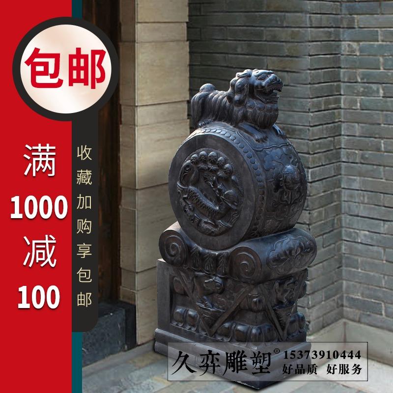 石雕门墩抱鼓石汉白玉摆件做旧大理石狮子仿古麒麟门墩石鼓定制