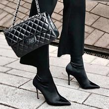 瘦腿中筒靴女 弹力布尖头袜靴细跟高跟鞋 2019新款 秋冬肯豆姗姗同款图片