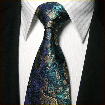 Ptah Atum 宴会领带 真丝领带男 宝石蓝花纹正装商务结婚领带套装