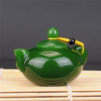 Yuxi margin jade Xinjiang Hetian jade jade hand pot pieces spinach green jade pot hand play pieces water jug ​​small