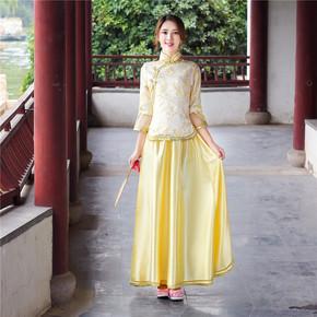 古装民国小凤仙小姐装古筝古琴表演服新款中式婚礼姐妹团伴娘礼服