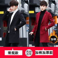 Men's windbreaker 2018 new handsome Korean version plus cotton thick woolen coat men's winter long coat winter coat