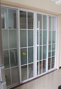 黑白框拼格厨房移门客厅阳台钢化玻璃移门吊门卫生间隔断推拉门