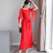 新娘装大红色敬酒衣服回门装订婚礼服晚宴会服夏季雪纺连衣裙长裙
