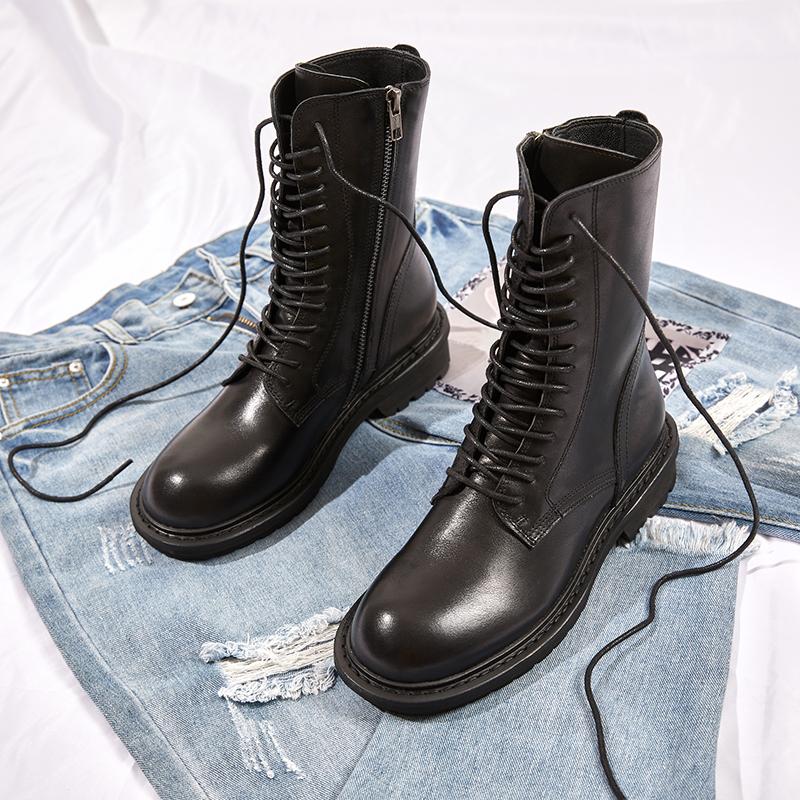 真皮帅气马丁靴女英伦风短靴欧美个性显瘦中筒骑士靴平底机车靴酷