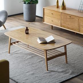 北欧实木茶几现代简约小户型客厅原木家具日式风格家用橡木咖啡桌