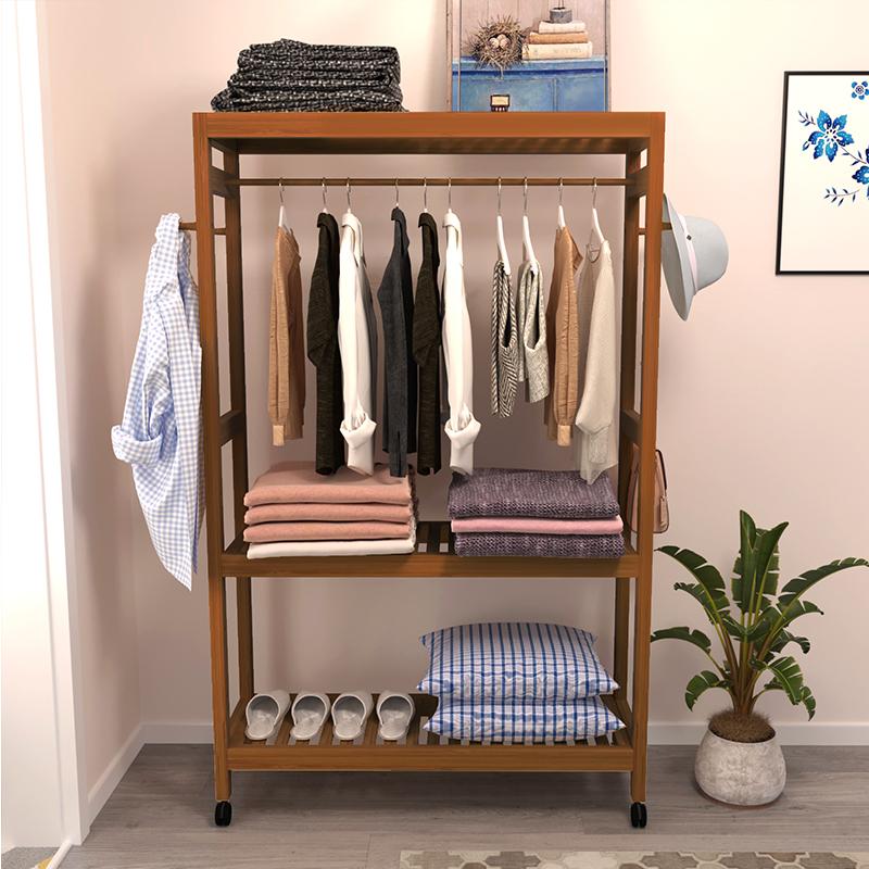 简约现代衣架落地卧室简易衣架客厅实木挂衣架子衣帽架落地置物