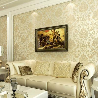 自粘壁纸防水3D立体浮雕奢华欧式大马士革卧室客厅电视背景墙纸今日特惠