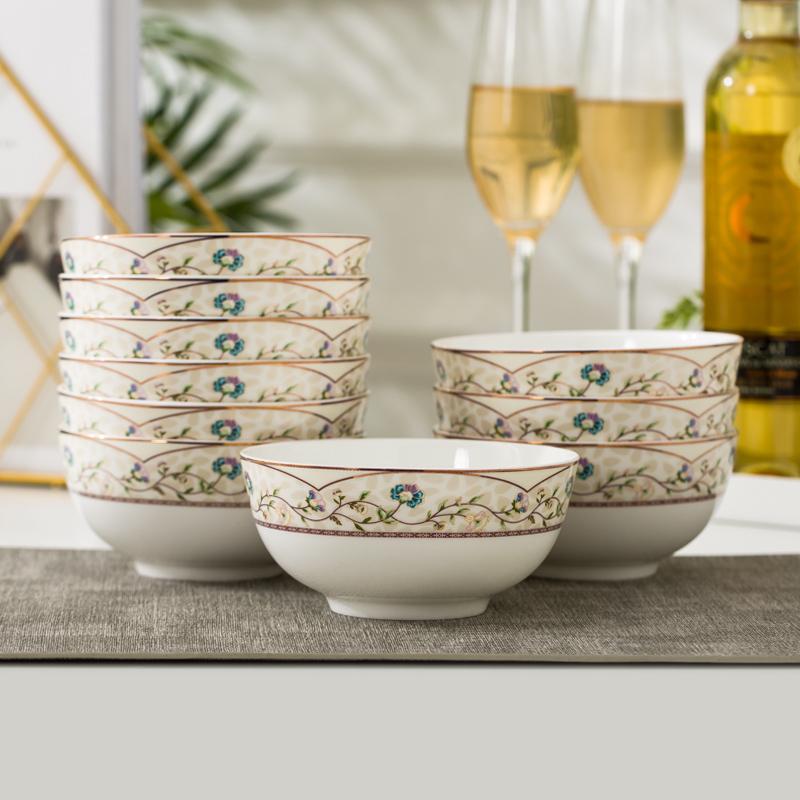 饭碗骨瓷大号米景德镇10个装5寸碗