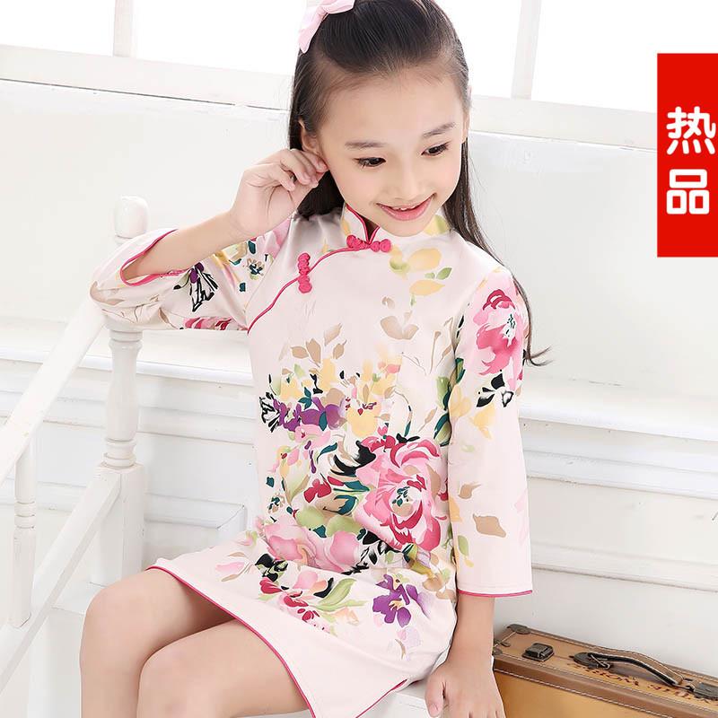 品质儿童旗袍唐装女童纯棉日常表演短袖长袖民族风复古连衣裙